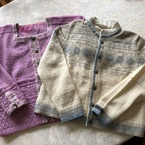 2 Hand Knit Nordic Dale of Norway Cardigan - SALE!